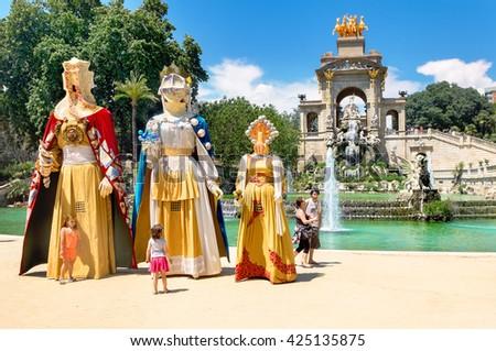 BARCELONA, SPAIN - JUNE 7, 2015: La Tamborinada festival. This is a fun festival for children and families at Barcelona's Parc de la Ciutadella every year at start of June - stock photo