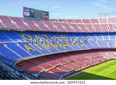 BARCELONA, SPAIN - JUNE 06, 2015: Panoramic view of FC Barcelona, football stadium Camp Nou in Barcelona, Spain. It is the largest stadium in Europe - stock photo