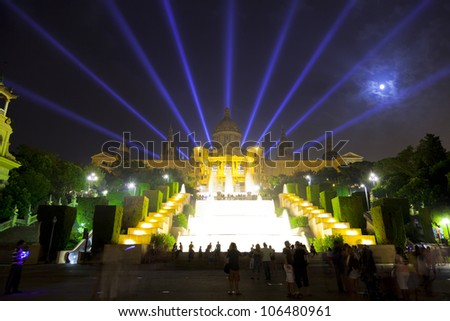 Stage blue lights prepared production shooting stock photo for Cinema montjuic 2016