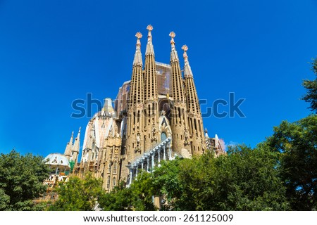 BARCELONA, SPAIN - JUNE 11 : Sagrada Familia  in Barcelona in Spain in a summer day on June 11, 2014 in Barcelona, Spain - stock photo