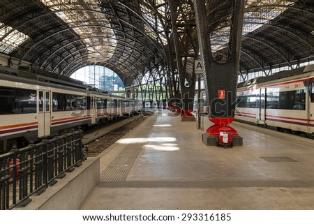BARCELONA, SPAIN - JUNE 25. Trains at the platform Estacion de Francia in Barcelona on June 25, 2015. The Estacio de Franca is the second busiest railway station of the city after Barcelona-Sants - stock photo