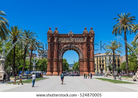 BARCELONA, SPAIN - JUNE 26, 2016: Triumph Arch of Barcelona in a beautiful summer day, Catalonia, Spain 