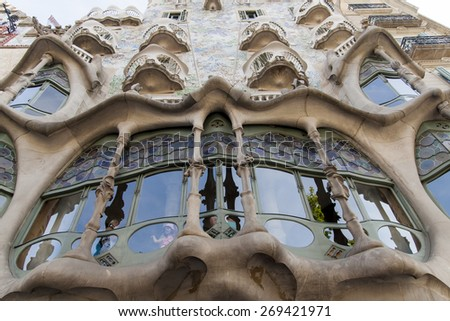 BARCELONA, SPAIN - JUNE 24, 2010: Unidentified people at Casa Batllo in Barcelona, Spain. This expressionist house was  redesigned in 1904 by Antoni Gaudi. - stock photo