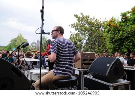 BARCELONA, SPAIN - JUNE 3: Veronica Falls band performs at Parc de la Ciutadella for free on June 3, 2012 in Barcelona, Spain. San Miguel Primavera Sound Festival. - stock photo