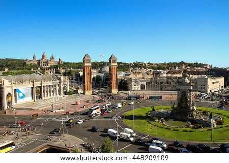 Barcelona, Spain - June 22, 2016: View on Barcelona Fira Montjuic Hall of Conferences - the big square in the heart of Barcelona, Spain