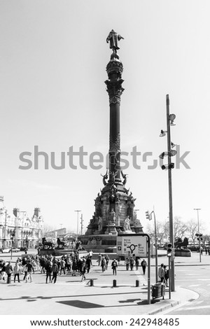 BARCELONA, SPAIN - MAR 15, 2014: Monument to Christopher Columbus in Barcelona, Spain. It is a 60 meters tall monument. - stock photo