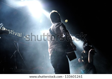 BARCELONA, SPAIN - MAR 16: Prats band performs at Salamandra on March 16, 2013 in Barcelona, Spain at Let's Festival 2013.