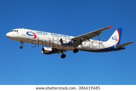 Barcelona, Spain - March 5, 2016: An Ural Airlines Airbus A321-211 approaching to El Prat Airport in Barcelona, Spain.