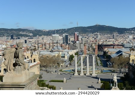 BARCELONA,SPAIN - MARCH 26, 2013: Barcelona is the second largest city in Spain, the capital of the Autonomous region of Catalonia and of the province. City view.