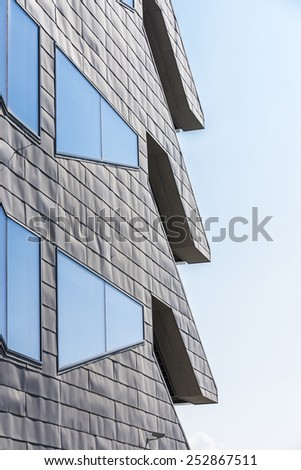 Barcelona, Spain - March 12, 2014: Facade of the Museum of Design in Barcelona (known until now for DHUB), was built by Oriol Bohigas and David Mackay and completed in 2013 - stock photo