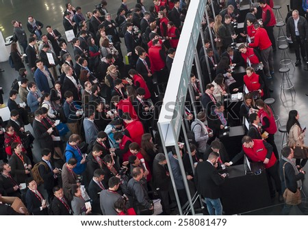 BARCELONA, SPAIN - MARCH 2, 2015: Mobile World Congress 2015. People entering to Mobile World Congress 2015.