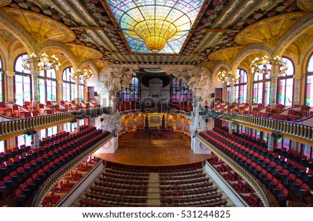 Barcelona, Spain - March 03, 2016: Palau de la Musica opera. Inaugurated in February 9, 1908, it is one of most famous concert hall in Spain.