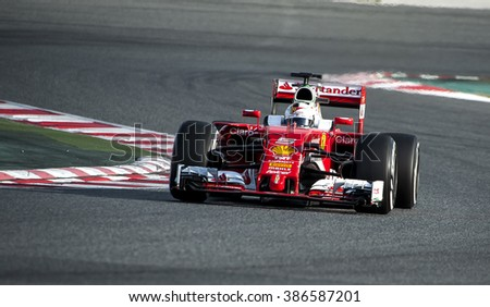 BARCELONA, SPAIN - MARCH 2, 2016: Sebastian Vettel at Formula One Test Days at Catalunya Circuit on March 2, 2016 in Barcelona, Spain. - stock photo