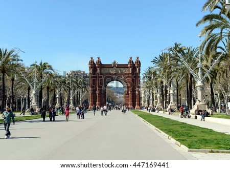 BARCELONA, SPAIN - MARCH 25, 2013:The arc de Triomphe is a monument in Barcelona. Served as the main entrance of the world Expo 1888.