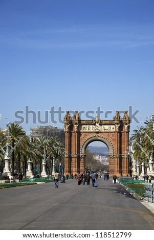 BARCELONA, SPAIN - MARCH 15, 2010: Triumph Arch (Arc de Triomf) built by the architect Josep Vilaseca in the Moorish revival style on March 15, 2010 in Barcelona, Spain. - stock photo