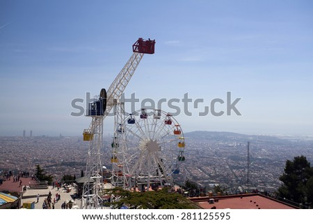 BARCELONA, SPAIN - MAY 2, 2015: Amusement Park on Mount Tibidabo in Barcelona, Catalonia, Spain