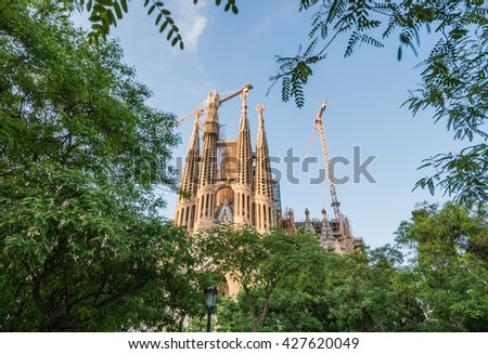 Barcelona, Spain - May 26, 2015: Basilica and Expiatory Church of the Holy Family designed by Antonio Gaudi in Barcelona - stock photo