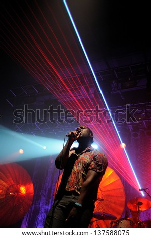 BARCELONA, SPAIN - MAY 4: Bloc Party band performs at Razzmatazz Clubs on May 4, 2013 in Barcelona, Spain.