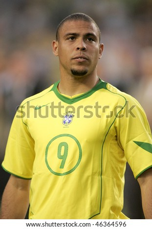 BARCELONA, SPAIN - MAY. 25: Brazilian player Ronaldo before the friendly match between Catalonia vs Brazil at Nou Camp Stadium on May 25, 2004 in Barcelona, Spain - stock photo