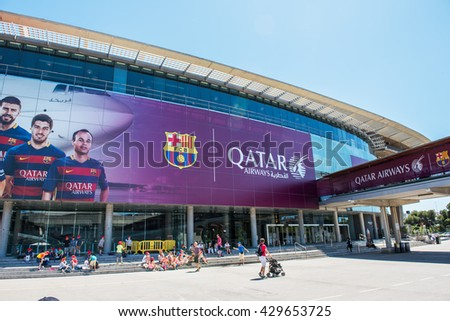 BARCELONA, SPAIN - MAY 28, 2016: CAMP NOU. The stadium of Football Club Barcelona team.  - stock photo