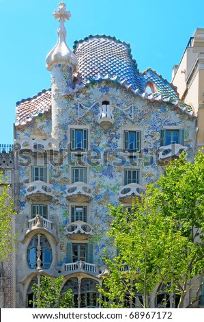 BARCELONA, SPAIN - MAY 23: Casa Batllo on May 23, 2010 in Barcelona, Spain. The famous building was designed by Antoni Gaudi. - stock photo