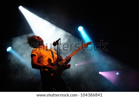 BARCELONA, SPAIN - MAY 31: David Prowse, lead singer and guitar player of Japandroids band, performs at San Miguel Primavera Sound Festival on May 31, 2012 in Barcelona, Spain. - stock photo