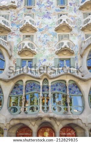 BARCELONA, SPAIN - MAY 31, 2013: Detail of modernist Casa Batllo facade, designed by Antoni Gaudi, in Barcelona, Spain - stock photo