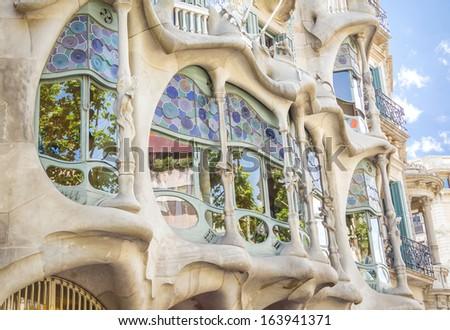 BARCELONA, SPAIN - MAY 31: Detail of modernist Casa Batllo facade designed by Antoni Gaudi, in Barcelona, Spain, on May 31, 2013 - stock photo
