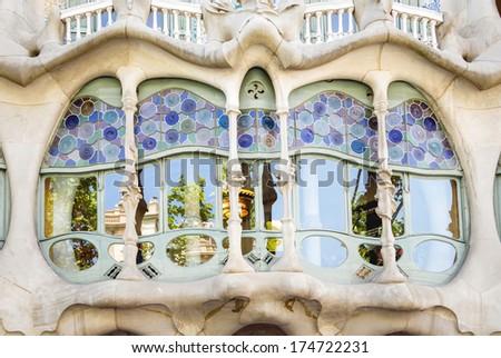 BARCELONA, SPAIN - MAY 31, 2013: Detail of modernist Casa Battlo facade, designed by Antoni Gaudi, in Barcelona, Spain - stock photo