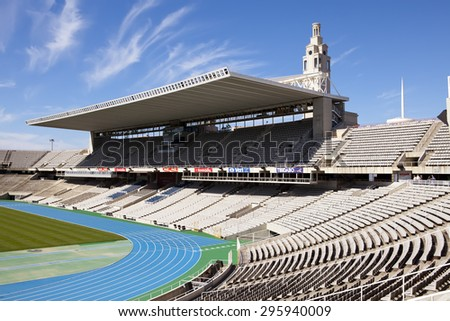 BARCELONA, SPAIN - MAY 10: empty tribunes on Barcelona Olympic Stadium on May 10, 2010 in Barcelona, Spain. - stock photo