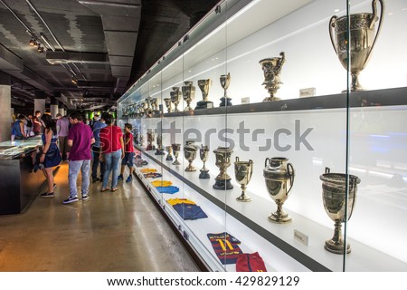 BARCELONA, SPAIN - MAY 28, 2016: FC Barcelona Museum in Camp Nou Studium. The museum occupies 3,500 square meters and attracts 1.2 million visitors a year. - stock photo