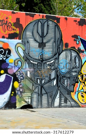 Barcelona Spain 6 may 2015 - Graffiti street art murals line the streets and back alleys of Barcelona that is is the perfect place to walk in the back alleys and abandoned areas looking for street art