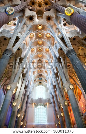 BARCELONA, SPAIN - MAY 02: Interior of the Sagrada Familia, a cathedral and world heritage site designed by Catalan architect Antoni Gaudi. May 02, 2015 in Barcelona Spain - stock photo