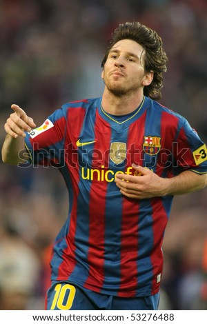 BARCELONA, SPAIN - MAY 16: Leo Messi of Barcelona during a Spanish League match between FC Barcelona and Valladolid at the Nou Camp Stadium on May 16, 2010 in Barcelona, Spain - stock photo