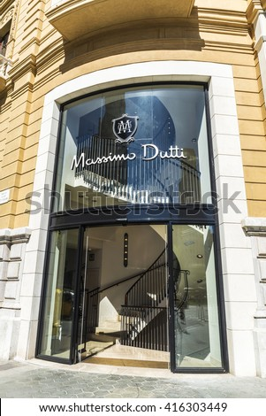 Barcelona, Spain - May 4, 2016: Massimo Dutti store located on Passeig de Gracia, one of the most expensive streets in Europe.