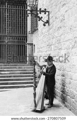 BARCELONA, SPAIN - MAY 17 2014 : Street performer (musician) in fairy tale style perform at the newly renovated Cathedral of the Holy Cross and Saint Eulalia,  , Barcelona, Spain on May 17, 2014. - stock photo