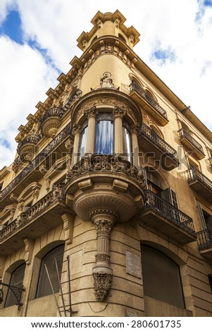 BARCELONA, SPAIN - MAY 17 2014: streets of Barcelona  Barcelona is the capital city of Catalonia in Spain and the country's second largest city, with a population of 1.6 million and a cultural center. - stock photo