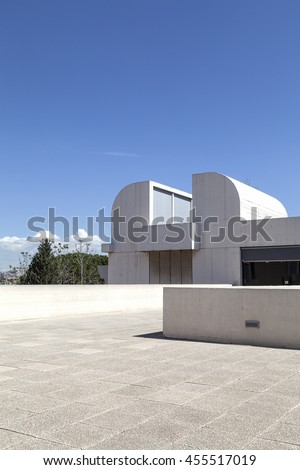 BARCELONA, SPAIN - MAY 12, 2016 :  Terrace of  building Joan Miro Foundation. Joan Miro Foundation, Centre of Studies of Contemporary Art  is a museum of modern art  located on the hill Montjuic