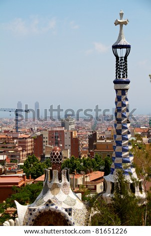BARCELONA, SPAIN -MAY 27: The famous Park Guell on May 27, 2011 in Barcelona, Spain. The impressive and famous park was designed by Antoni Gaudi.