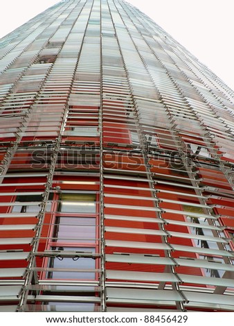 BARCELONA, SPAIN - MAY 4: Torre Agbar, an office building, is noted for its unusual architecture and glass facade which controls heat and light in Barcelona, Spain, May 4, 2010. - stock photo