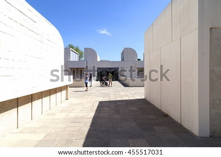 BARCELONA, SPAIN - MAY 12, 2016 :Tourists on the terrace of the building Joan Miro Foundation .  Centre of Studies of Contemporary Art  is a museum of modern art  located on the hill.Montjuic