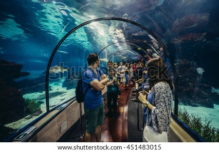 Barcelona, Spain - May 26, 2015. Tourists visits Barcelona Aquarium