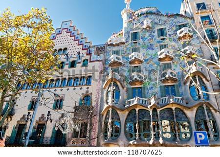 BARCELONA, SPAIN - NOVEMBER 11: Casa Batllo and Casa Ametller Facades. They are major touristic attractions in Barcelona. November 11, 2012 in Barcelona, Spain - stock photo