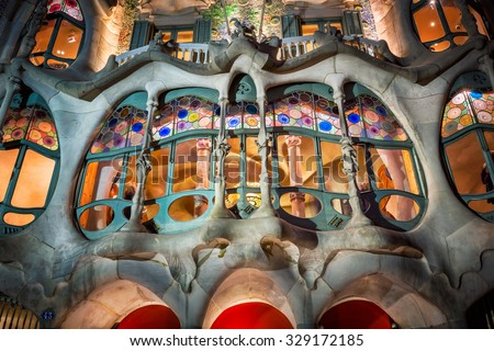 BARCELONA, SPAIN - NOVEMBER 16, 2014: Casa Batllo Facade in Barcelona, Spain. The famous building designed by Antoni Gaudi is one of the major touristic attractions in Barcelona. - stock photo