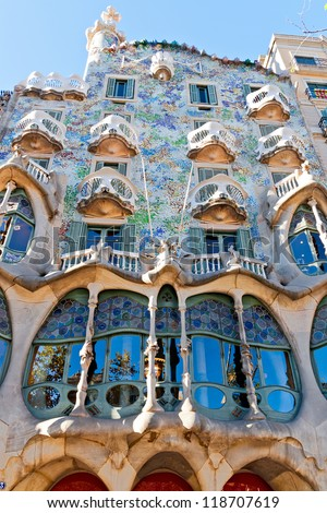 BARCELONA, SPAIN - NOVEMBER 11: Casa Batllo Facade. The famous building designed by Antoni Gaudi is one of the major touristic attractions in Barcelona. November 11, 2012 in Barcelona, Spain - stock photo