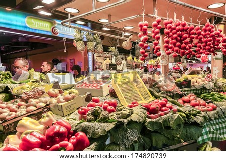 BARCELONA, SPAIN - NOVEMBER 16, 2013: Famous La Boqueria market - one of the oldest markets (Established in 1217) in Europe that still exist. A huge selection of fruits and vegetables.