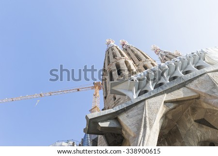 Barcelona, Spain - November 9, 2015: La Sagrada Familia is a UNESCO World Heritage Site, drawing an estimated 2.5 million visitors annually. - stock photo