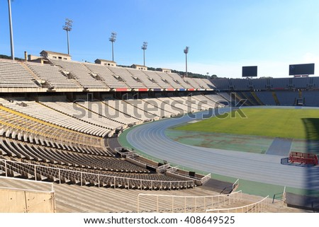 Barcelona, Spain - November 12, 2015: Olympic Stadium (Estadi Olimpic Lluis Companys) on mountain Montjuic. The stadium was renovated in 1989 to be the main stadium for the 1992 Summer Olympics.