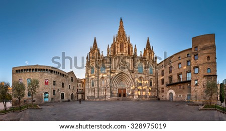 BARCELONA, SPAIN - NOVEMBER 16, 2014: Panorama of Cathedral of the Holy Cross and Saint Eulalia in Barcelona. The cathedral was constructed from the 13th to 15th centuries.