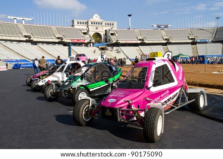 BARCELONA, SPAIN - NOVEMBER 12: Some dune buggies at a car exhibition during Monster Jam spectacle, on November 12, 2011, in Olympic Stadium, Barcelona, Spain.